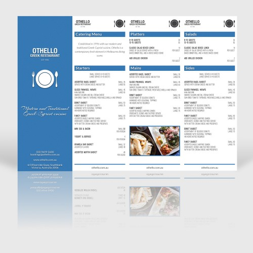 Restaurant menu graphic design melbourne